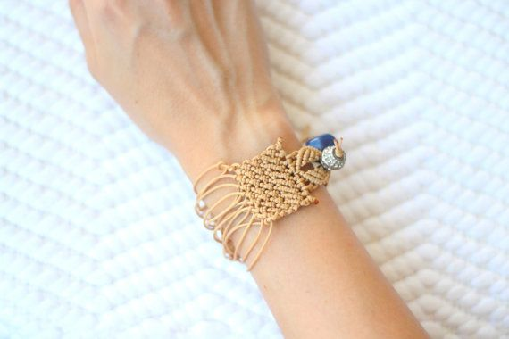 Nude Knotted minimal macramé bracelet silver bead by ilepieces