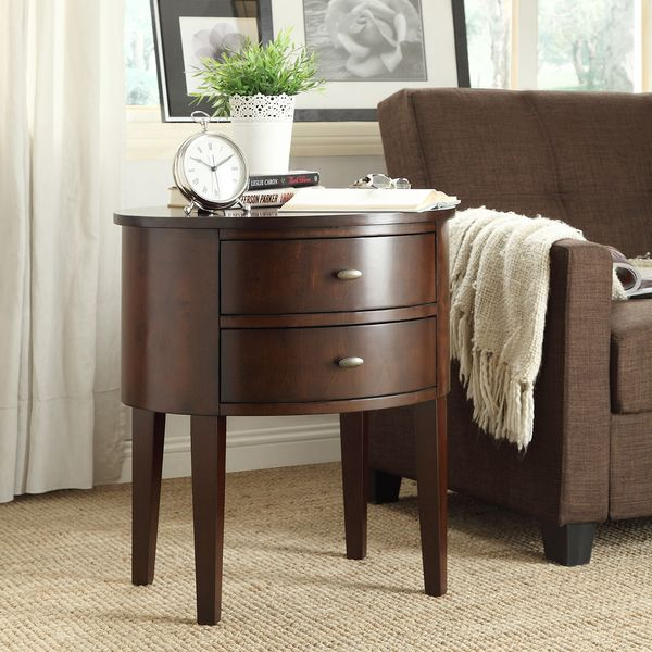 Aldine 2 Drawer Oval Wood Accent Table By INSPIRE Q Bold By INSPIRE Q