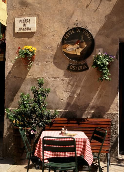 Cafe - Pienza, Tuscany....I want to sit here with a glass of wine....
