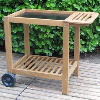 Chariot, desserte et table pour plancha à poser 96584300F Bois en solde