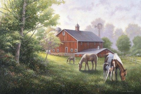 Country Road with Horses/Barn by John Zaccheo