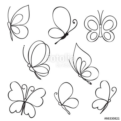 """Download the royalty-free vector """"Set of hand drawn butterflies"""" designed by iktash2 at the lowest price on Fotolia.com. Browse our cheap image bank online to find the perfect stock vector for your marketing projects!"""