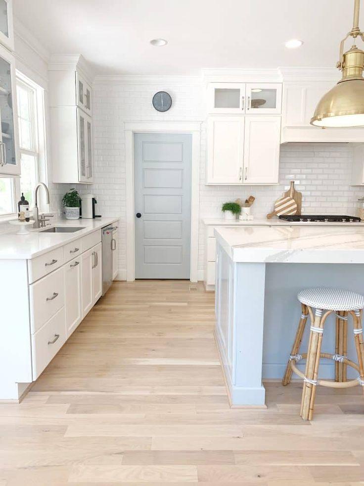 Why You Need White Oak Hardwood Flooring Blue kitchen