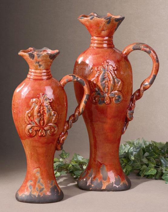 Serka Vases by Uttermost- made of ceramic in Tomato red finish
