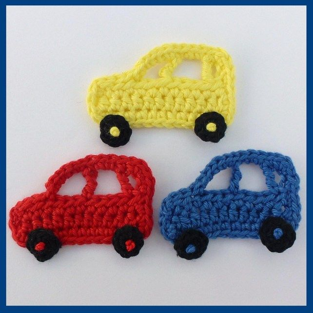 3 Crochet applique cars, red ,blue and yellow, appliques and embellishments. £2.25