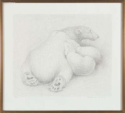 RIDLEY BORCHGREVINK WIMBLEDON, ENGLAND 1898 - ASKER 1981  Polar Bears, 1972  Lithography, 51/100. 42x51 cm  Signed and dated lower right: Ridley Borchgrevink 72