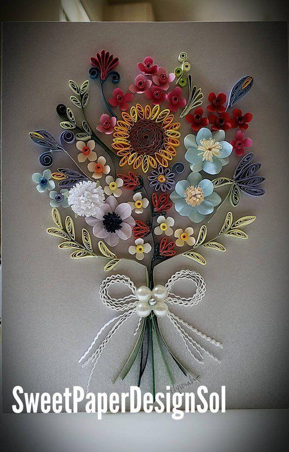 Paper Quilling Art Paper Quilling Flower Bouquet Card Wedding
