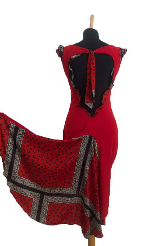 Red Ruffled Tango Dress with Open Back Milonga Dress by conDiva