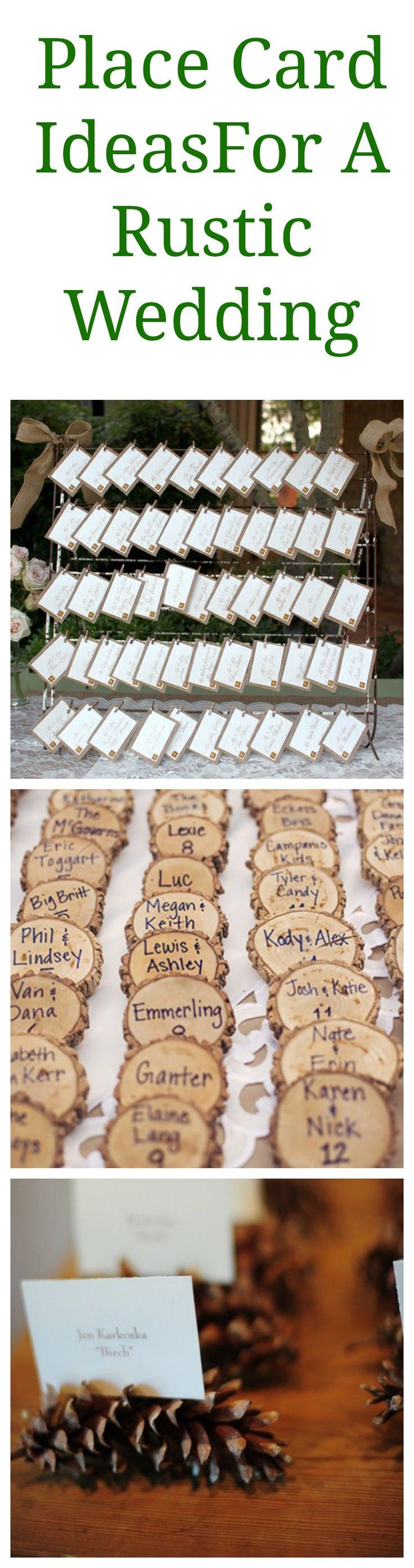 Rustic Wedding Place Card Ideas-love the pine cone idea..we could spray paint them with yellow and glitter