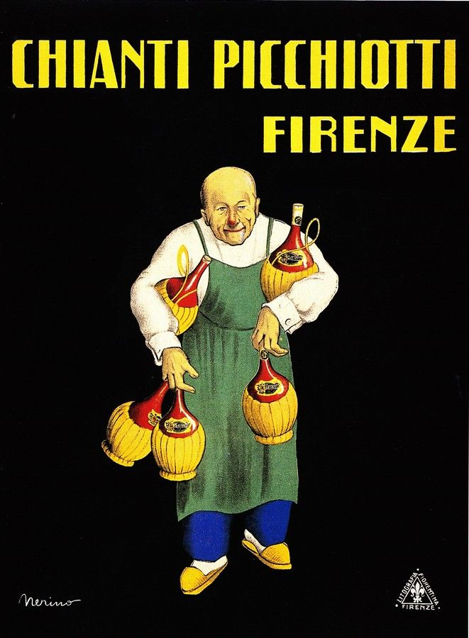Vintage Italian Posters ~ Chianti Picchiotti, Firenze, Nerino #illustrator #wine #posters