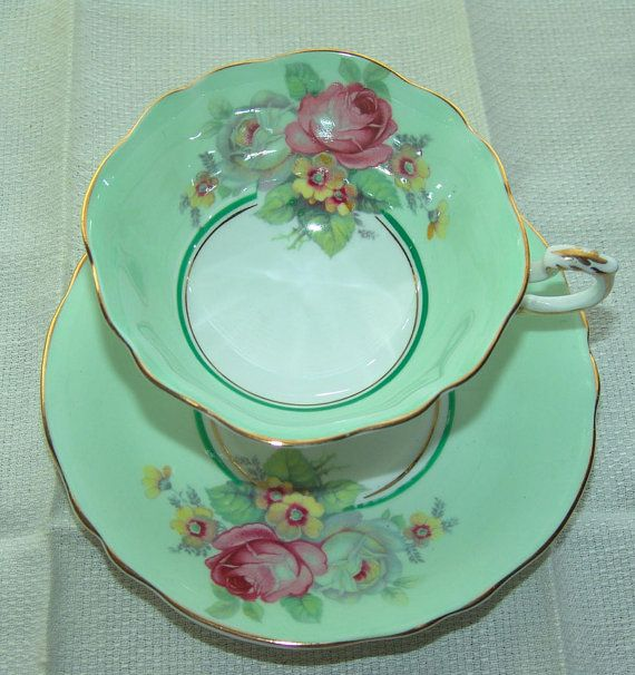 Vintage Paragon Mint Green Tea Cup and Saucer Set. The RogueRooster on Etsy.