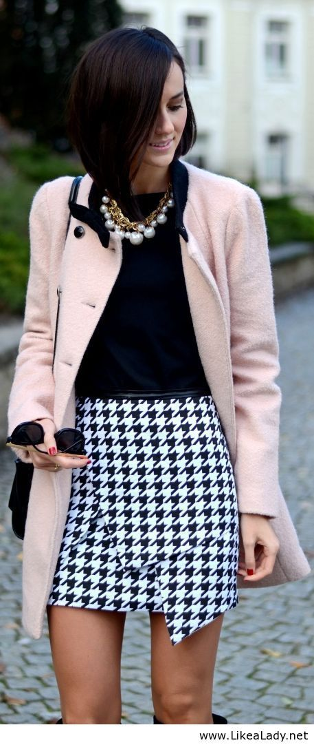 light pink coat and dogtooth skirt