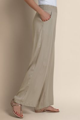Palazzo Pants - Elastic Waist Pants, Silky Pull-on Pants | Soft Surroundings