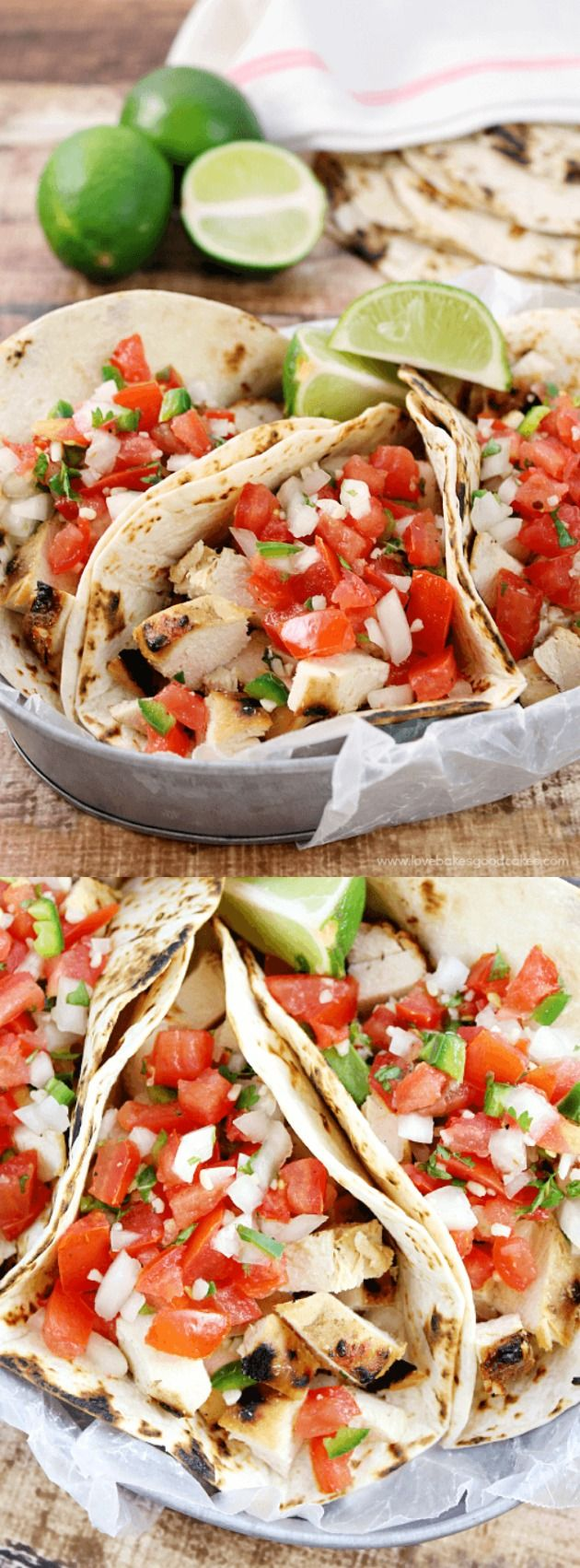 These Grilled Chicken Fresco Tacos from Love Bakes Good Cakes are the perfect summer dinner -- they are light on calories and fat while still enjoying BIG flavor!