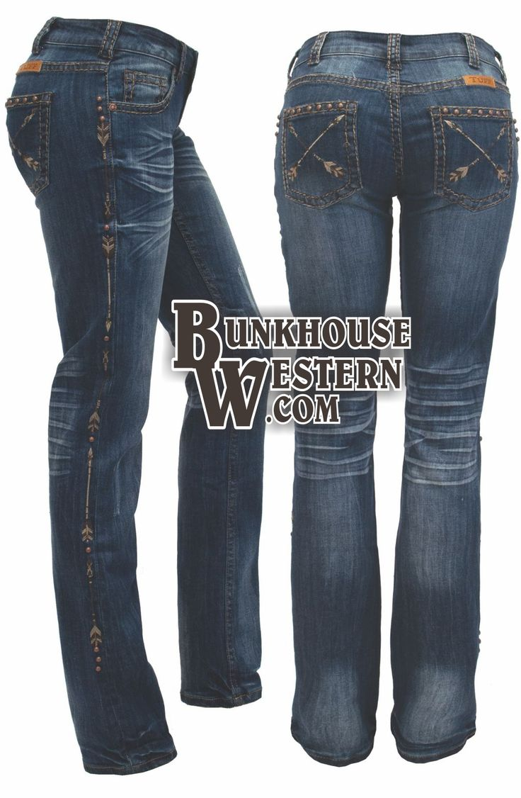 Cowgirl Tuff Company, Natural Pathmaker Jeans, Arrows, Brown & Cream Stitching, $99.99