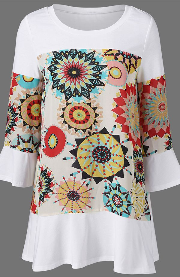 Flare Sleeve Graphic Longline T-Shirt