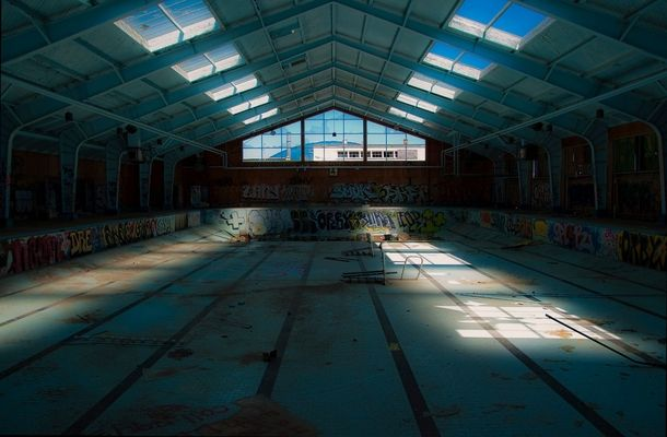 The old Olympic size swimming pool at fort Ord army base in California  OC  x