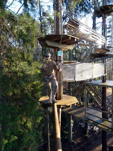 Seikkailupuisto Huippu, vihreä rata, Huippu tree top Adventure, green course, Hochseilgarten Huippu, grüne Route