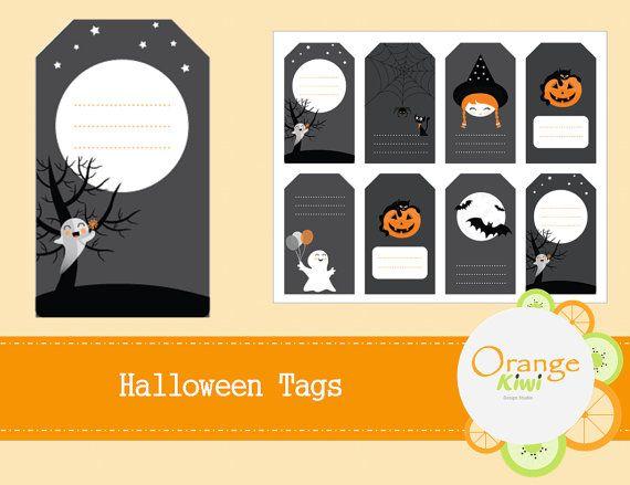 Halloween Gift Tags  Halloween Treat Bag by OrangeKiwiDesign