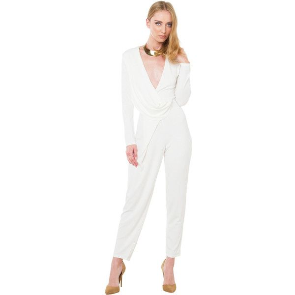 AKIRA Black Label Wild Escapes Jumpsuit - Ivory ($65) ❤ liked on Polyvore featuring jumpsuits, ivory, white long sleeve jumpsuit, long sleeve jumpsuit, jump suit, white jump suit and ivory jumpsuit