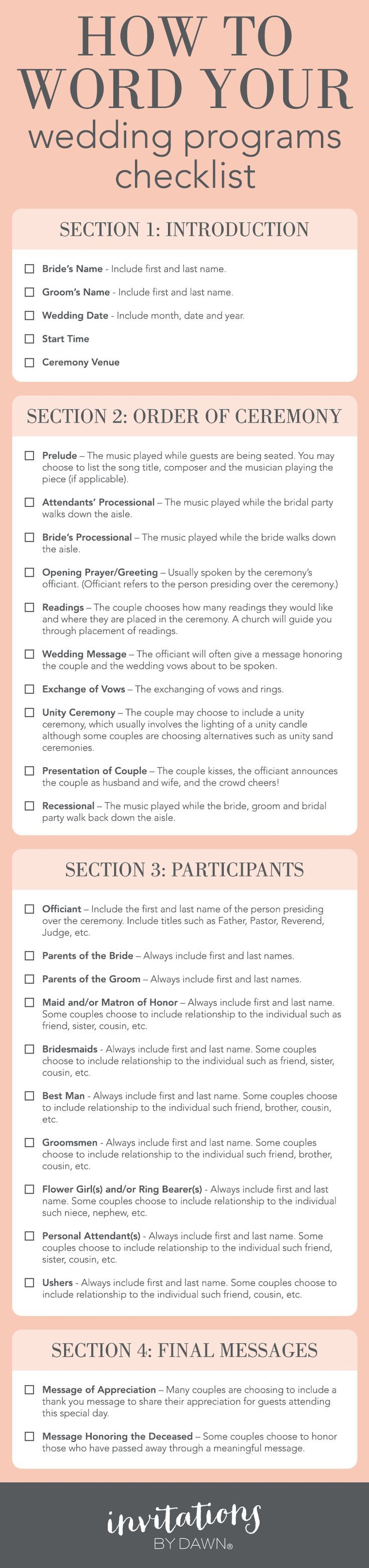 A Checklist: How to Word Your Wedding Programs