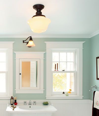 Seafoam bathroom with bright white and dark fixtures.   My absolute favorite color scheme for a bathroom. Totally timeless, clean, and pleasing to the eye. I want!!!