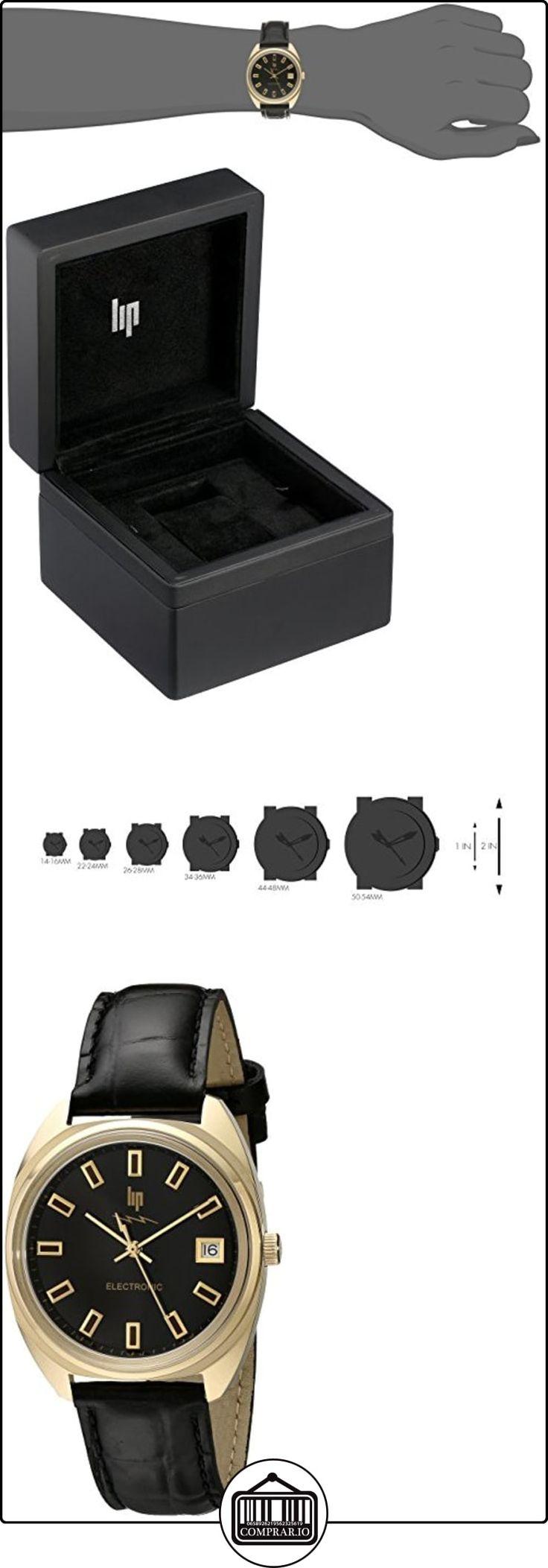 Lip Créateur 1872742 - Reloj analógico de cuarzo para hombre con correa de piel, color negro  ✿ Relojes para hombre - (Lujo) ✿