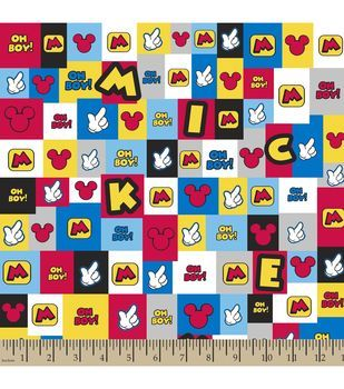 Disney Mickey Patch Flannel Fabric