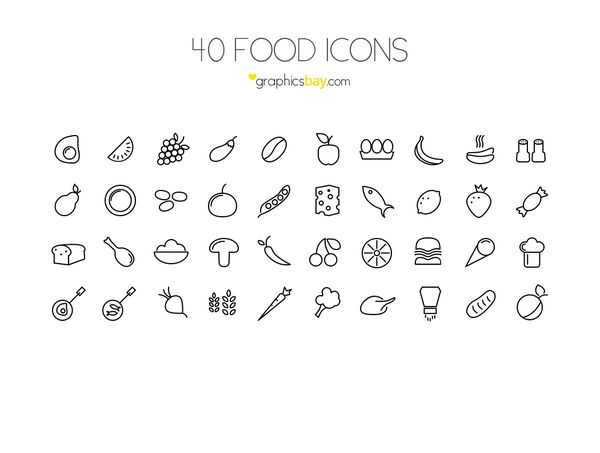 40 Food Icons - Exclusive ! Download: http://graphicsbay.com/item/40-food-icons/199