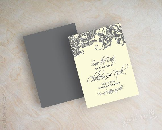 Victorian, filigree save the date cards, save the date magnet, formal save the date card, charcoal gray, Jessica on Etsy, $1.00