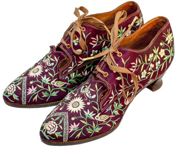 1920s Embroidered Heels 8 Women Oxford Red Silk by TopangaHiddenT