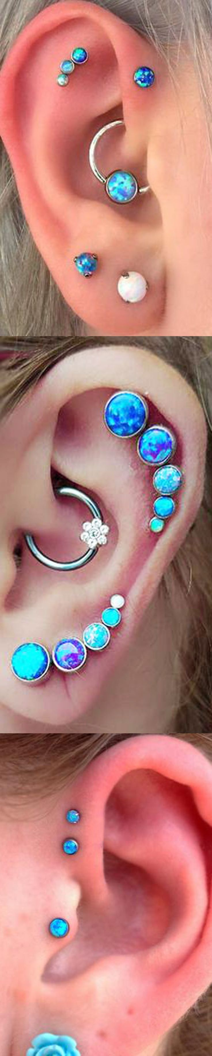 Multiple Ear Piercing Ideas Combinations at MyBodiArt.com - Cartilage Earring, Rook Ring, Tragus Stud, Forward Helix Piercings