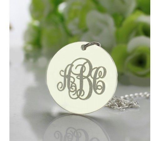 Solid White Gold Disc Engraved Monogram Necklace SWD9