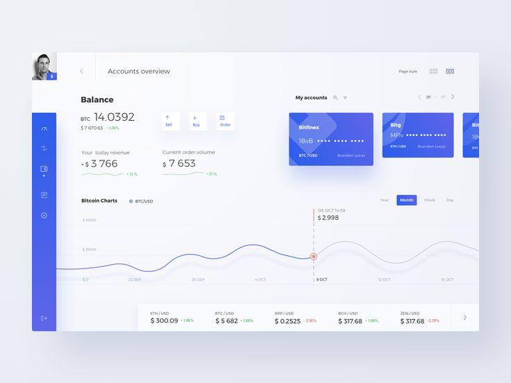 Cryptocurrency Marketplace (Light) Dashboard interface