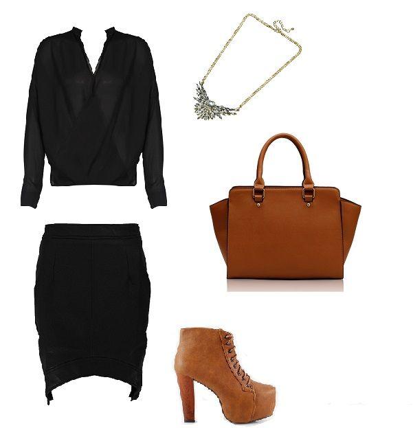 Stylizacja, spódnica asymetryczna, koszula, brązowe dodatki, stylowo, Caterina, Monashe, Internetowy Magazyn, www.magazyn.modadamska.waw.pl