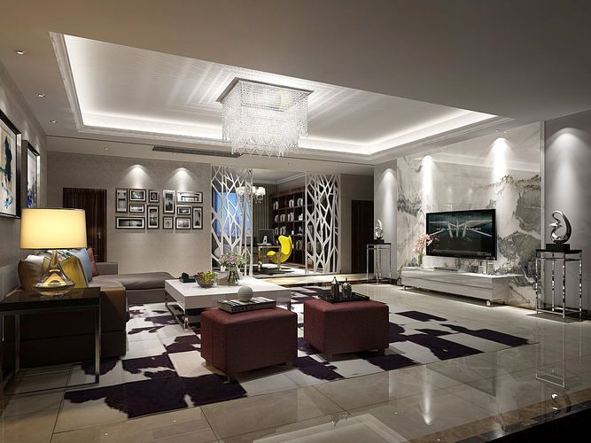 Contemporary Living Room Design Full Model 3d Model Max 1