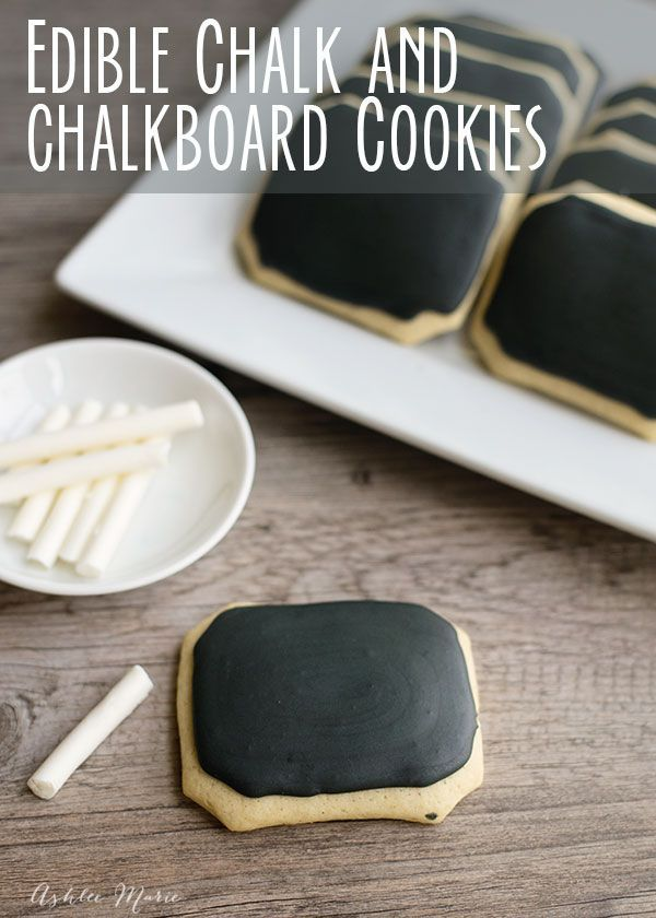 How to Make Edible Chalk and Chalkboard Cookies - Chalkboard cookies and edible chalk are easy to make and super fun to play with! perfect for a back to school party or an in class treat and craft. - By ashleemarie.com