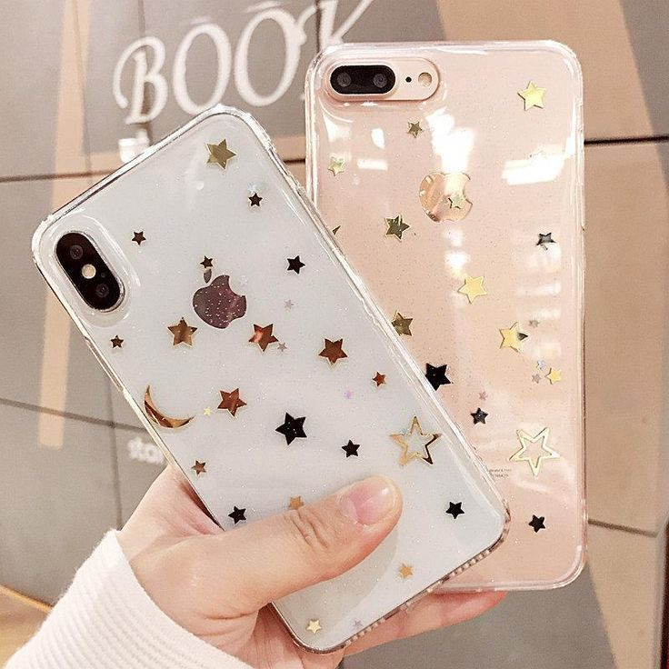 Golden stars night sky transparent silicone iphone cover