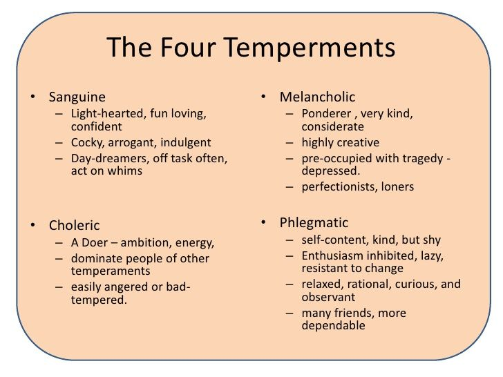 temperament personality Whatever your temperament or personality, god is the one who has given you the abilities and sensitivities that you possess, and he has given those things to you for a purpose — that you might faithfully work at developing them and using them in his service  following is a brief description of each of the four temperaments or.