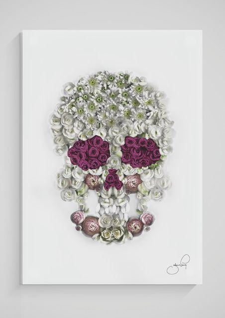 Limited edition print on 5 mm thick plexiglass, worldwide shipping on www.jelmingillustrations.com   flowers, roses, skull, sugarskull, scanography, art,
