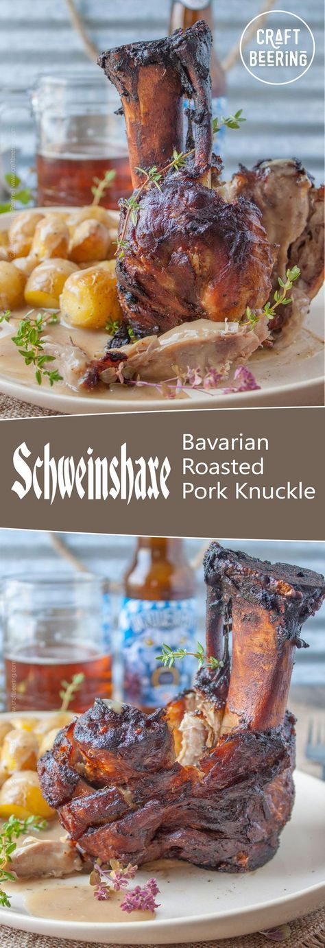 Traditional Bavarian roasted pork knuckle, aka Schweinshaxe. Fork tender, fall of the bone meat with tantalizingly crispy skin. Accompanied by roasted gold potatoes and Doppelbock based gravy. Finger licking required.