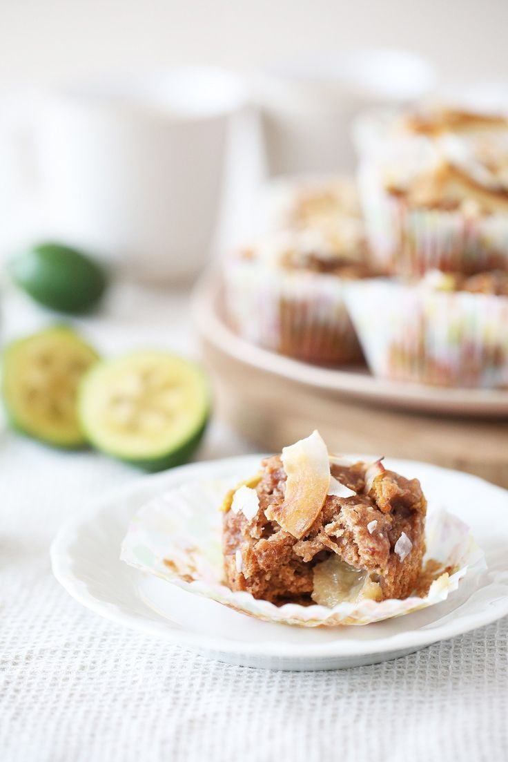 These light and fruity muffins use one of my favourite fruits – feijoas! If you're a feijoa fan you'll love these (and if not, come to NZ to try them). Best of all, they have no added sugar – just the natural sweetness of feijoas, coconut, dates, and vanilla.