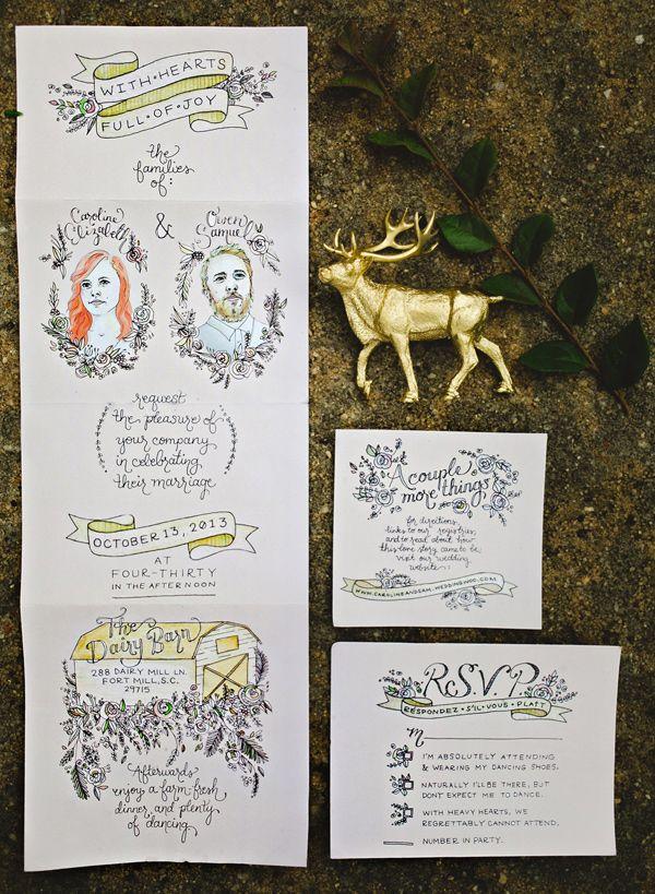 illustrated wedding invitations, photo by Emily Chidester http://ruffledblog.com/fort-mill-barn-wedding #invitations #weddinginvitation