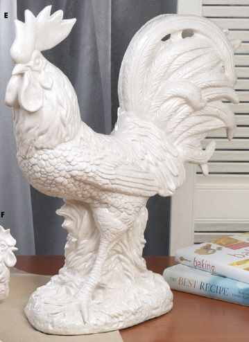 I'm shopping around for a white ceramic rooster. This one is so pretty!