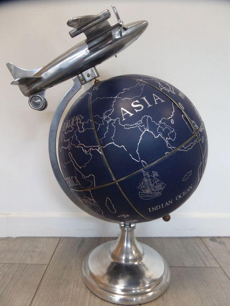Mappemonde globe terrestre haut 55 cm cuir aluminium avion Sphère armillaire