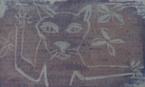 From my mini sketchbook series a print of Krazy Cat love kitties! prints made into bags and stuff #adamsart #yoyoro #wholesale #retail #cats #purses #tshirts #artprints #printmaking