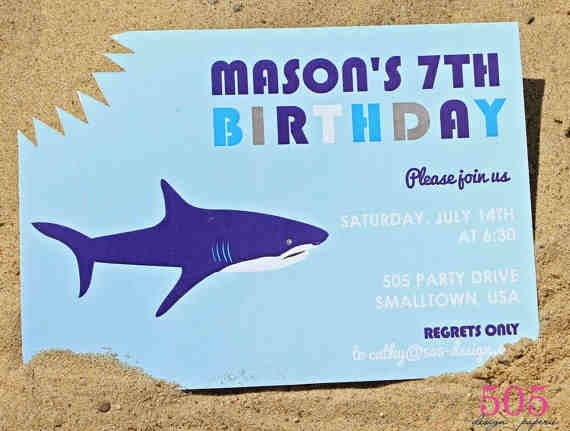 39 best jackson shark party images on pinterest, Party invitations