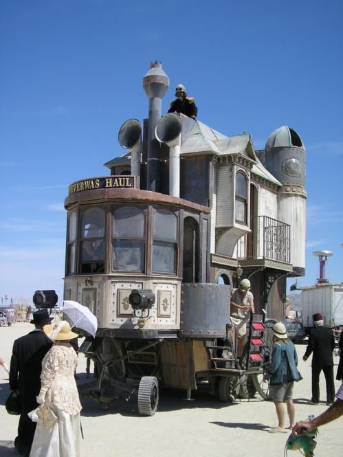 Travelling steampunk house.