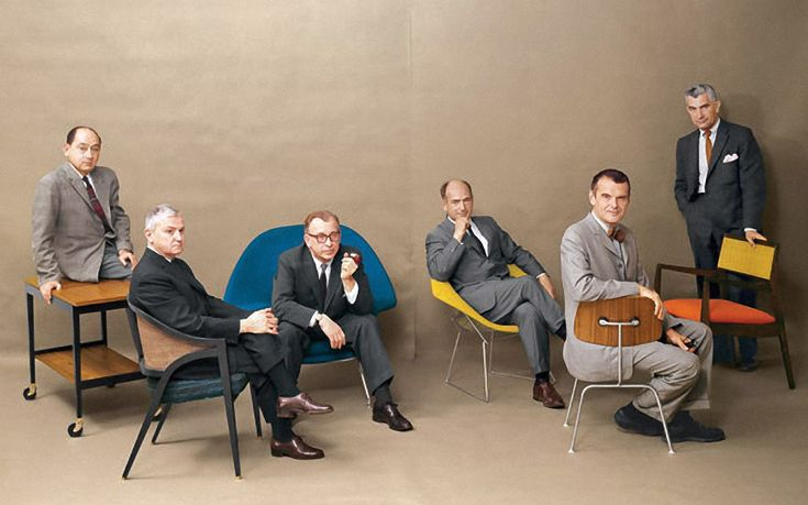 Designs for Living Mid-Century Modern Designers  1961 Playboy photo featuring left to right – George Nelson, Edward Wormley, Eero Saarinen, Harry Bertoia, Charles Eames and Jens Risom