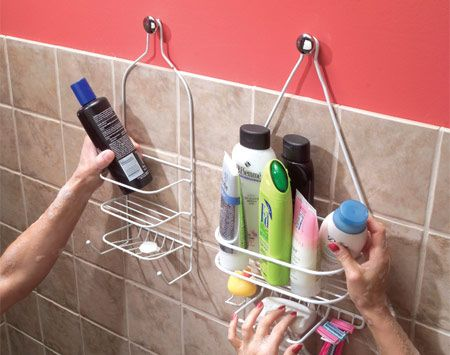Hang shower shelves from cabinet knobs!  If you need more than shampoo and a bar of soap in the shower, here's how to provide space for all your vital beauty potions: Get a couple of those shelves that are designed to hang from a shower arm and hang them on cabinet knobs. Use No. 8-32 hanger screws ($1) to screw the knobs into studs or drywall anchors.